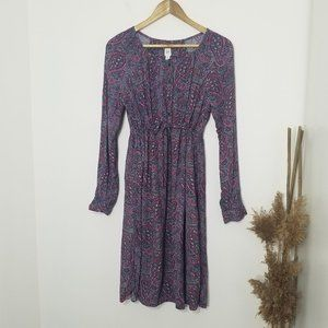 Gap | Blue Paisley Print Long Sleeve Midi Dress XS